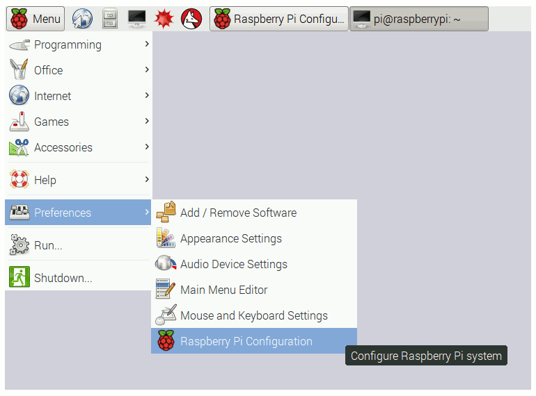 Raspbian interface