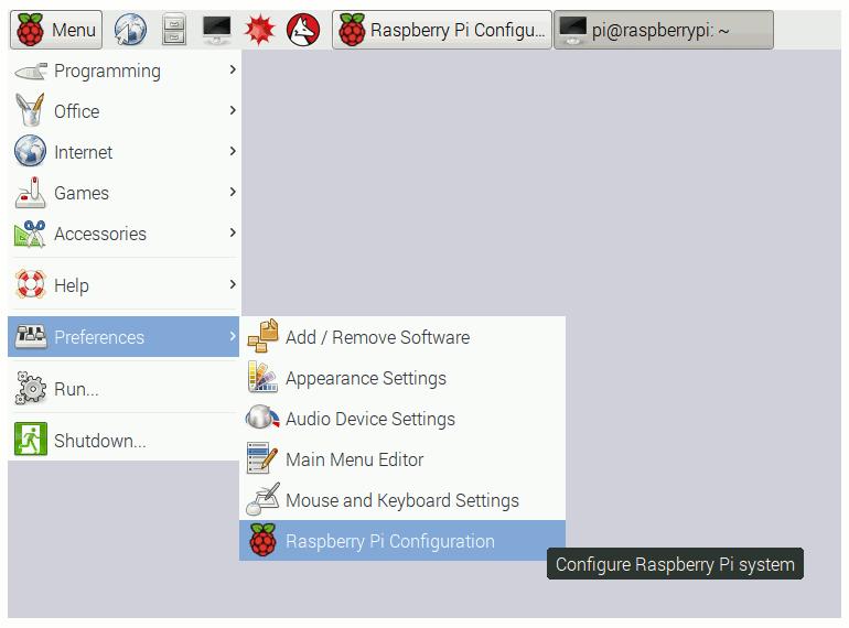 Raspbian interface