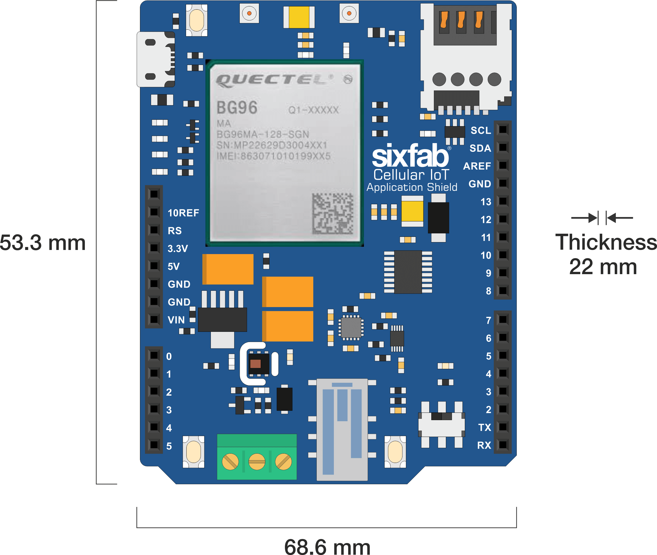 Arduino Cellular IoT Application Shield Dimension