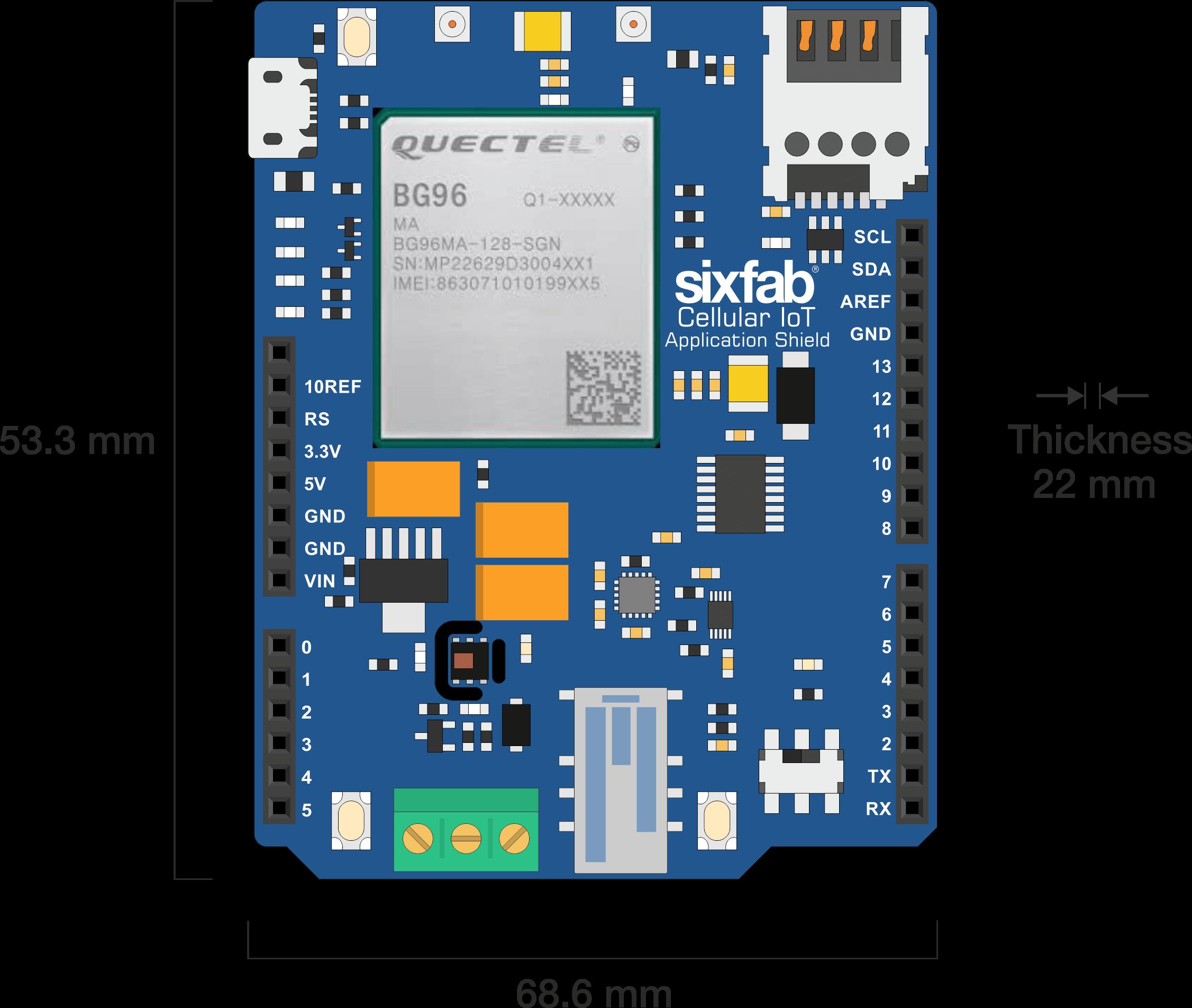 Arduino Cellular IoT Application Shield Dimension